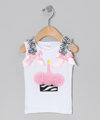White & Pink Zebra Cupcake Tank - Infant & Toddler