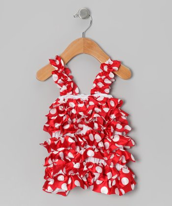 Red & White Polka Dot Satin Ruffle Romper - Infant & Toddler