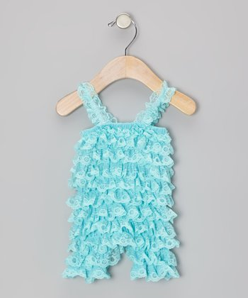 Turquoise Lace Ruffle Romper - Infant & Toddler