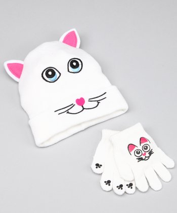 White Cat Beanie & Gloves