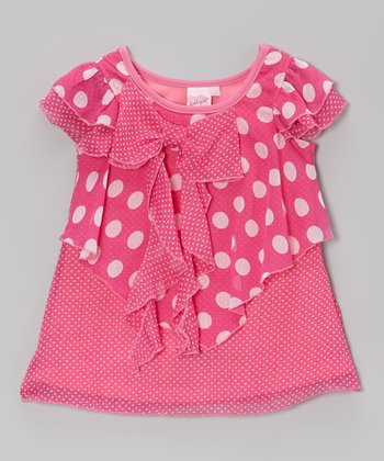 Pink Ruffle Polka Dot Tunic - Toddler & Girls
