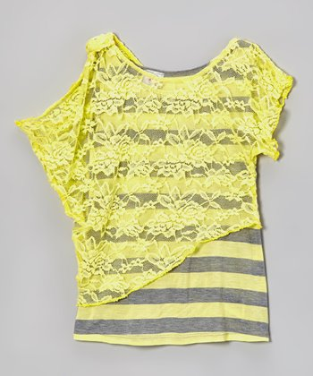 Yellow & Gray Stripe Lace Top - Girls