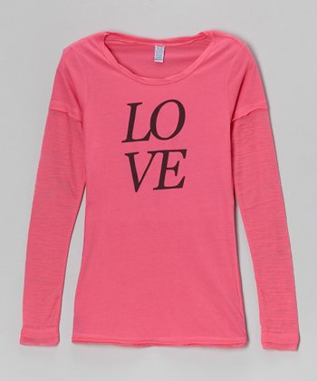 Hot Pink 'Love' Layered Burnout Tee - Toddler & Girls