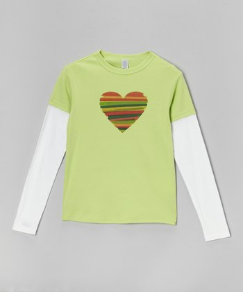 Lime & White Stripe Heart Layered Tee - Toddler & Girls