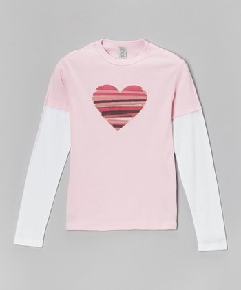 Light Pink & White Stripe Heart Layered Tee - Toddler & Girls