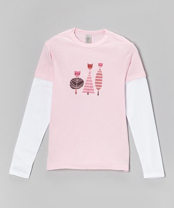 Pink & White Owl Layered Tee - Toddler & Girls