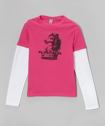 Hot Pink & White Horsey Crown Layered Tee - Toddler & Girls