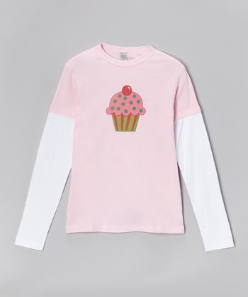 Light Pink & White Cupcake Layered Tee - Toddler & Girls