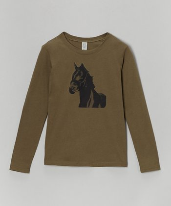 Olive Horse Tee - Toddler & Girls