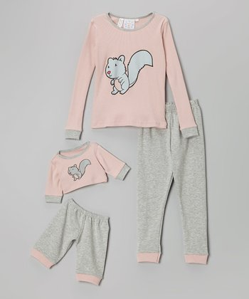 Pink Chipmunk Pajama Set & Plush Bear Outfit