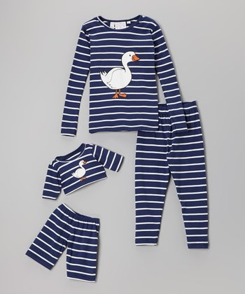 Blue Duck Pajama Set & Plush Bear Outfit