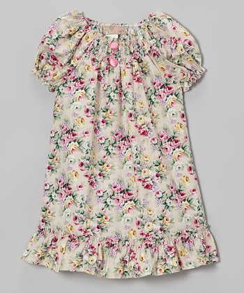 Pink & Khaki Floral Shirred Dress - Toddler & Girls