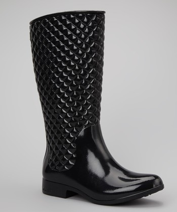 Black Diagonal Boot - Women