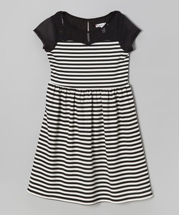 Black & White Stripe Sweetheart Dress