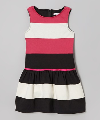 Black & Fuchsia Stripe Drop-Waist Dress - Girls
