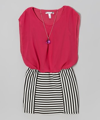 Fuchsia Chiffon & Black Stripe Dress