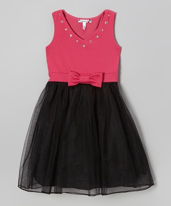 Black & Fuchsia Bow Tulle Dress