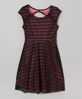 Black & Pink Crocheted Dress