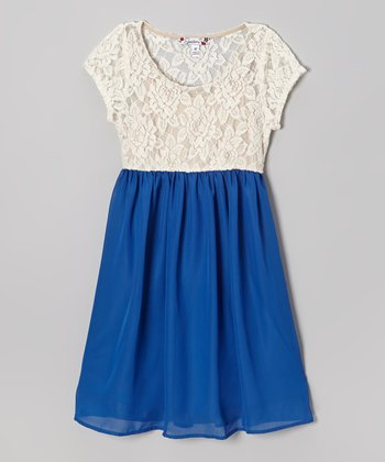 Ivory Lace & Blue Chiffon Dress
