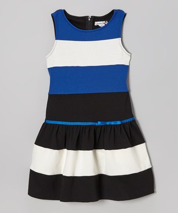 Cobalt & Black Stripe Drop-Waist Dress - Girls