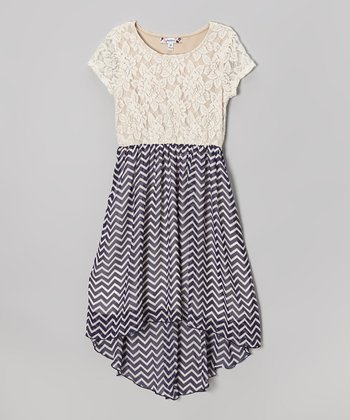 Ivory Lace & Zigzag Navy Hi-Low Dress