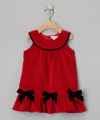 Red Ruffle Corduroy Jumper - Infant