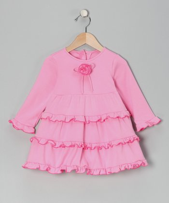 Pink Ruffle Rosette Dress - Infant & Toddler