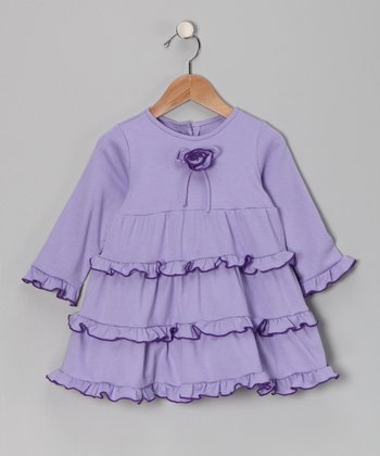 Lavender Rosette Ruffle Dress - Infant & Toddler