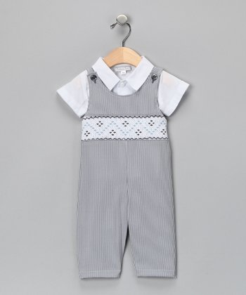 White Shirt & Blue Stripe Overalls  - Infant