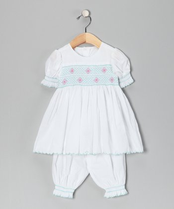 Blue & Pink Scalloped Dress & Bloomers - Infant