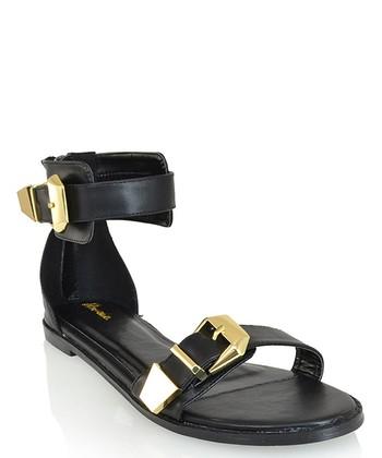 Shoe Republic LA Black Hosea Ankle-Strap Sandal
