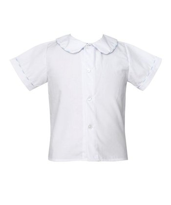 White & Blue Stripe-Trim Peter Pan Button-Up - Infant