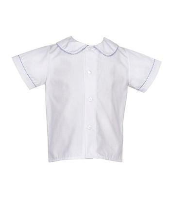 White & Blue Checkerboard-Trim Peter Pan Button Up - Infant