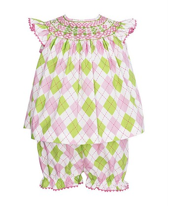 Green & Pink Argyle Smocked Top & Bloomers - Infant
