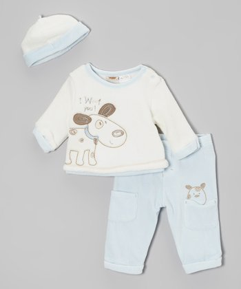 Blue & White Plush Puppy Pants Set - Infant