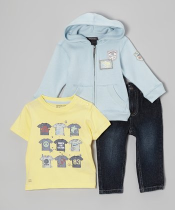 Light Blue Zip-Up Hoodie Set - Infant & Toddler