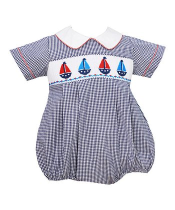 Blue Sailboats Smocked Bubble Bodysuit - Toddler & Boys