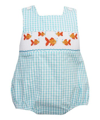 Turquoise Gingham Goldfish Bubble Romper - Infant