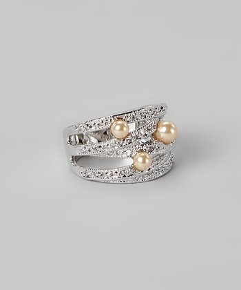 Champagne Pearl & Silver Stacked Ring