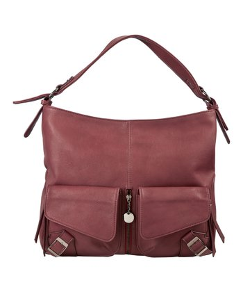 Burgundy Large Buckle Hobo