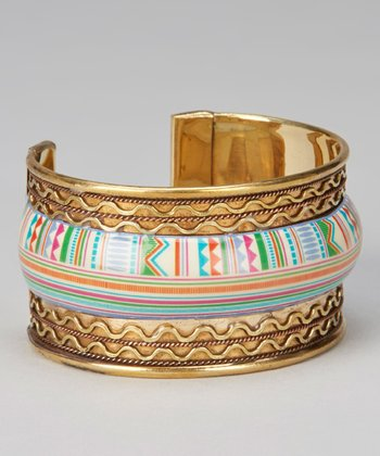 Gold & Pink Geometric Stripe Cuff