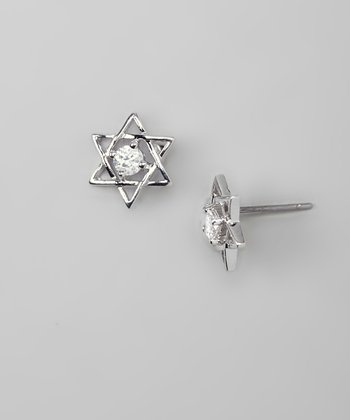 Silver Sparkle Star of David Stud Earrings
