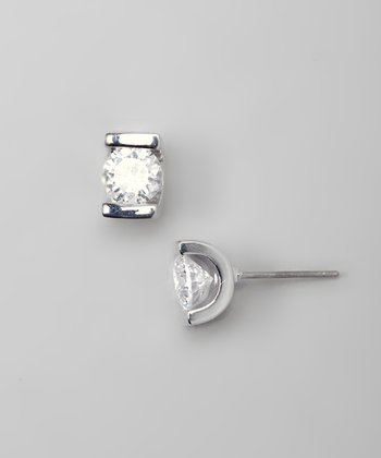 Silver Sparkle Channel-Set Stud Earrings