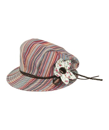 Red Stripe Flower Newsboy Cap
