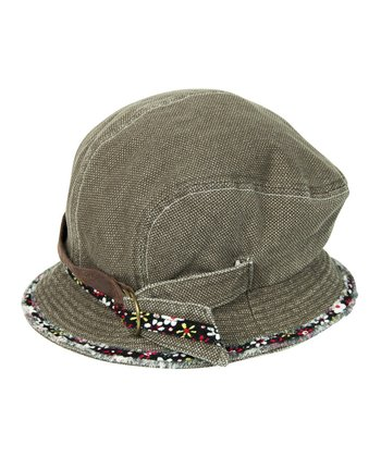 Brown Corduroy Buckle Cloche