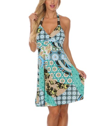 Aqua & Blue Abstract Halter Dress