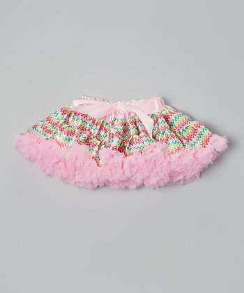 Light Pink & Lime Zigzag Bow Pettiskirt - Infant, Toddler & Girls