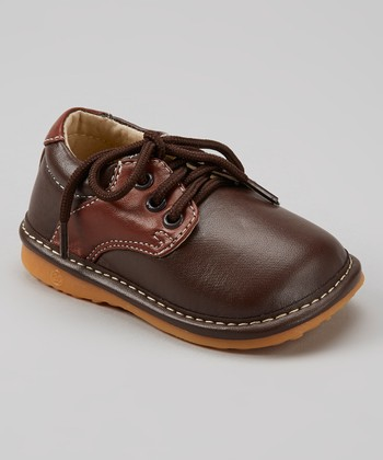 Izzy Bug Creations Light Brown Lace-Up Squeaker Shoe