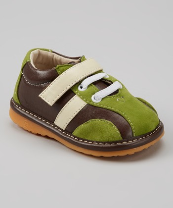 Izzy Bug Creations Green & Brown Forest Squeaker Shoe