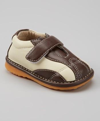 Izzy Bug Creations Brown & Cream Casual Squeaker Shoe